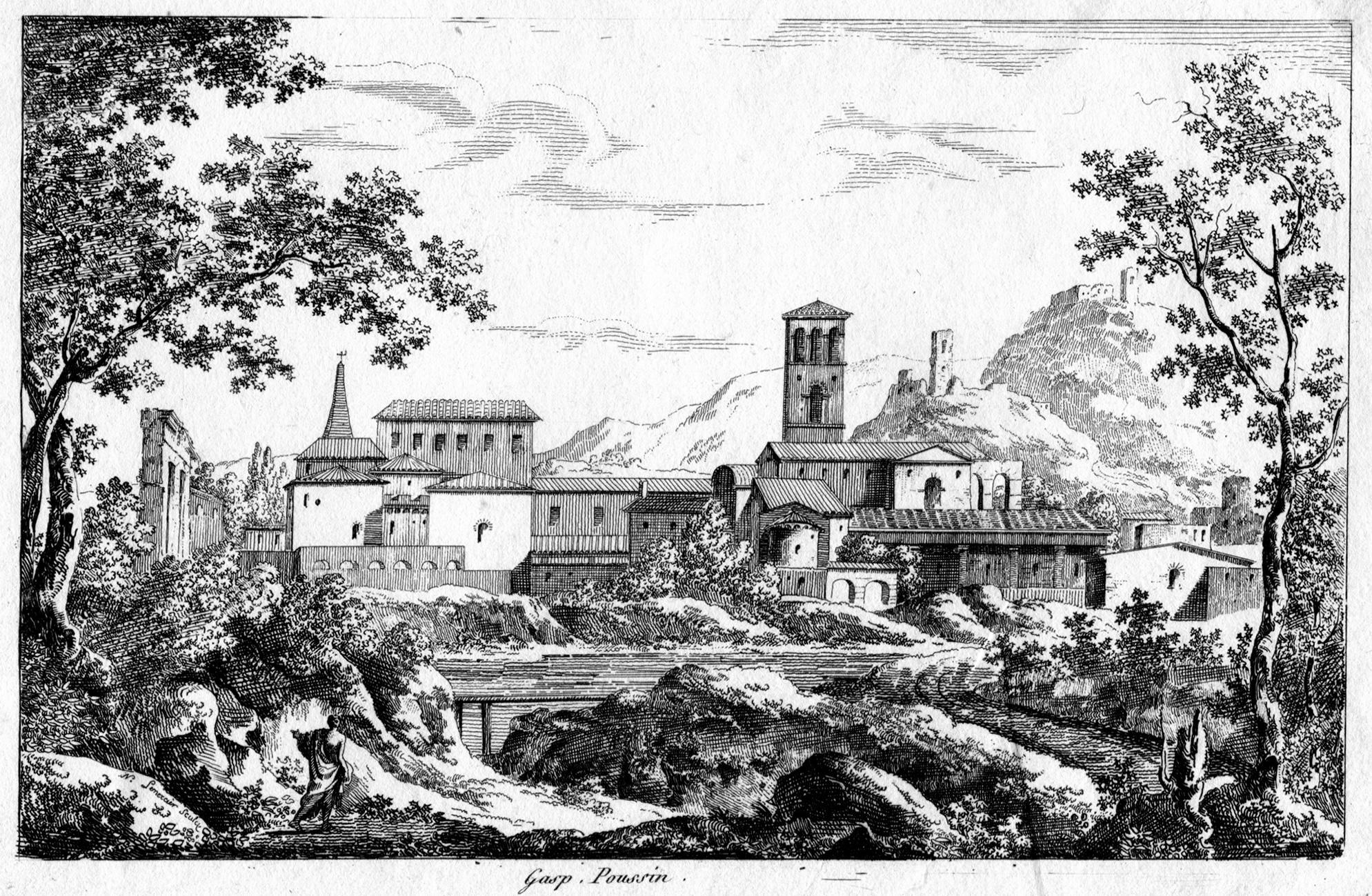 Gaspard Duguet Paysage Avec Basilique Saint Jean