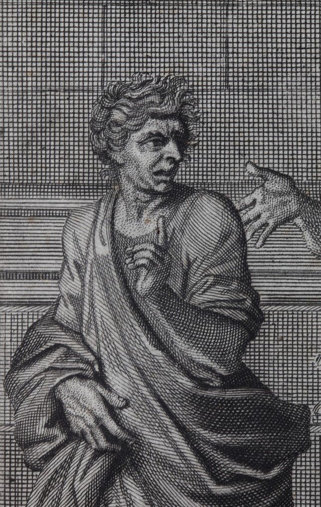 Christ and the adulteress - painted for Le Nôtre (1653 - Louvre) - Engraving detail